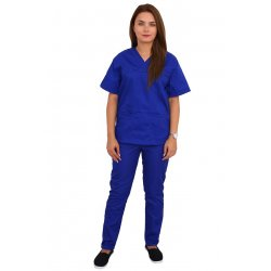 Costum medical albastru, bluza cu anchior in V, trei buzunare si pantaloni cu elastic.