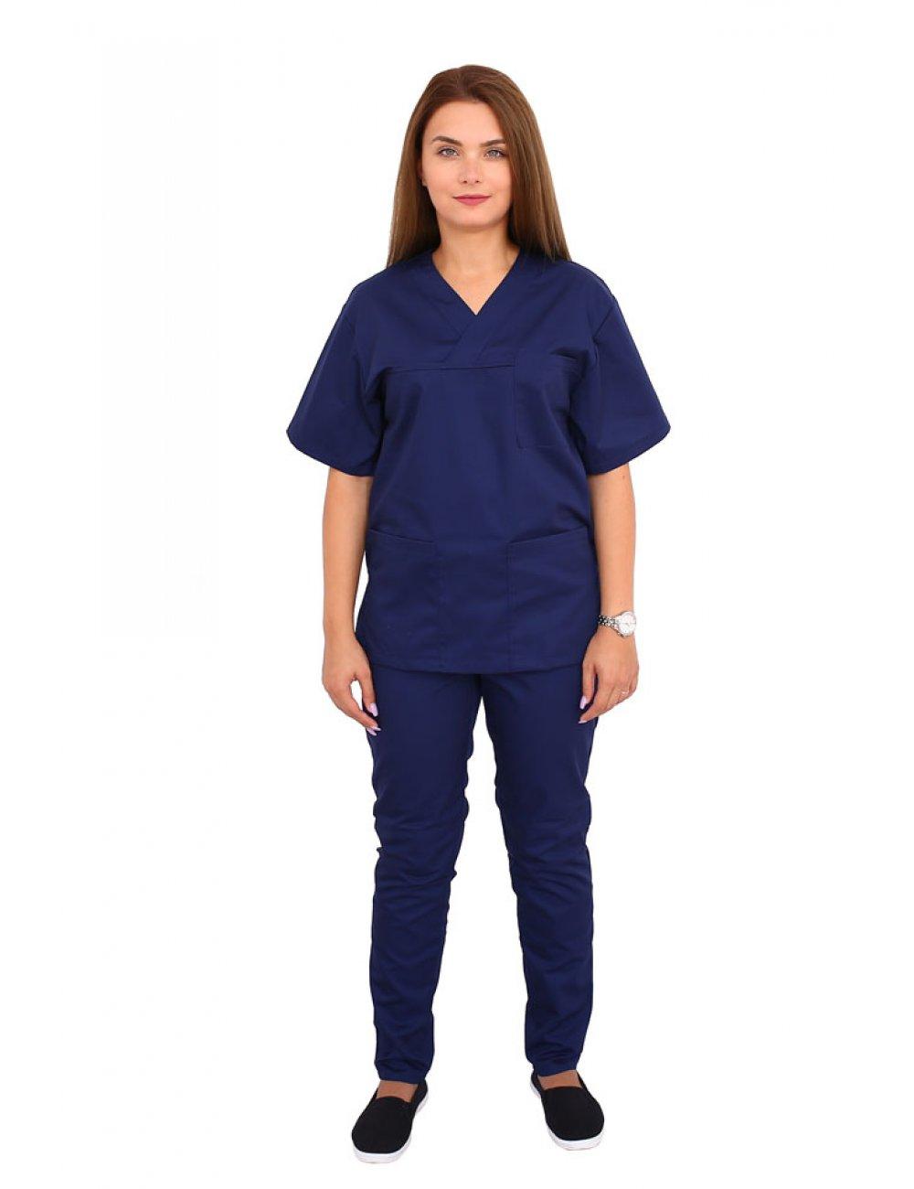 Costum medical bleumarin, bluza cu anchior in V, trei buzunare si pantaloni cu elastic.