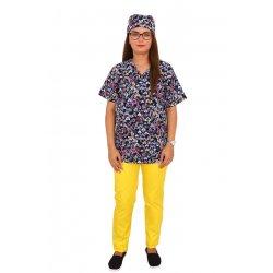 Costum medical Hearts, cu bluza cu imprimeu si pantaloni galbeni cu elastic