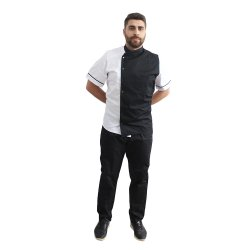 Uniforma bucatar tip tunica alb cu negru