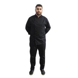 Uniforma bucatar tip tunica negru cu maneca lunga
