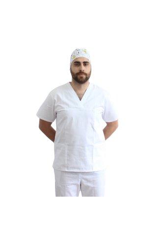 Costum medical barbati alb unisex