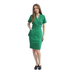 Costum medical verde bluza kimono si fusta cu buzunare