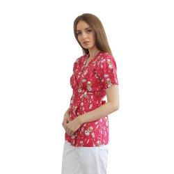 Halat medical kimono ursi rosii cu capse si cordon