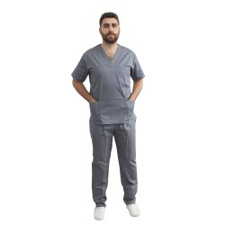Costum medical barbati gri unisex