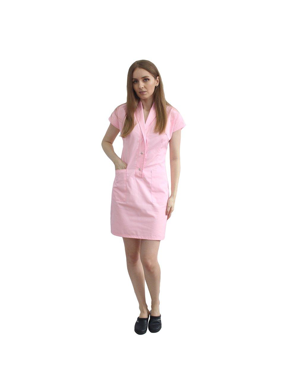 Sarafan roz pal cu capse, doua buzunare inferioare aplicate