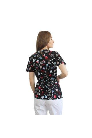 Halat medical kimono love cu capse si cordon