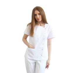 Halat medical asimetric alb cu capse si doua buzunare aplicate