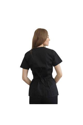 Halat medical kimono negru cu capse si cordon