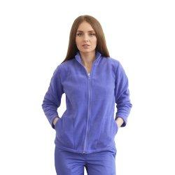 Jacheta medicala polar lila cu doua buzunare aplicate