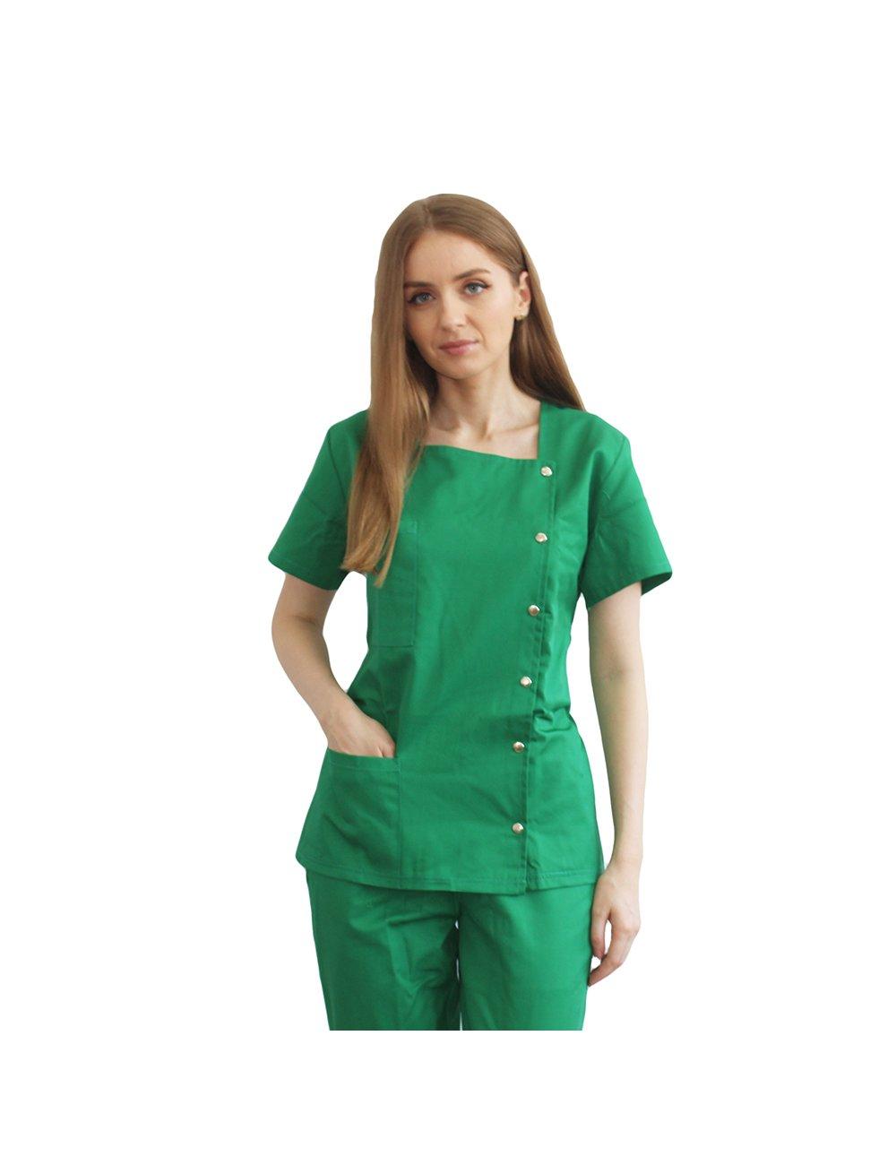 Halat medical asimetric verde cu capse si doua buzunare aplicate