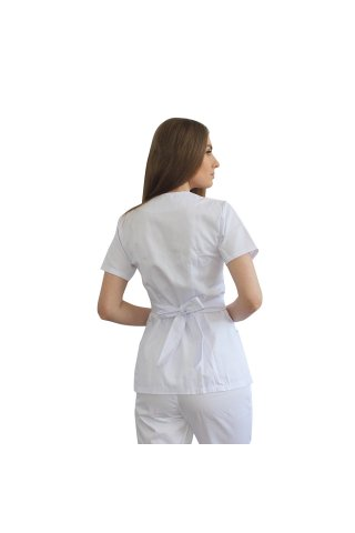 Halat medical kimono alb cu capse si cordon