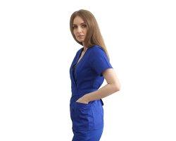 Halat medical kimono albastru cu capse si cordon