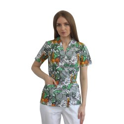 Halat medical kimono jungle cu capse si cordon